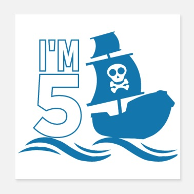 Brother Of Birthday Boy I'm 5 pirate party 5th birthday gift idea - Poster