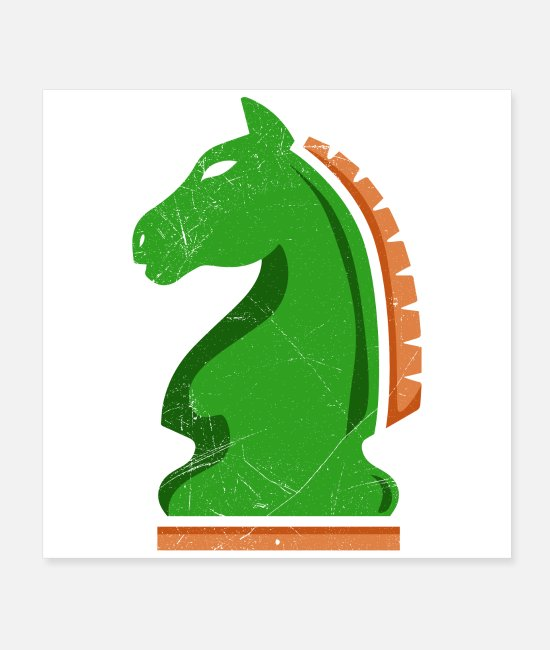 Chess Posters - Chess knight horse chess player gift idea - Posters white