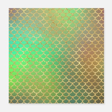 Green And Gold Gold Glitter Mermaid Pattern Sparkle Chic Green - Poster