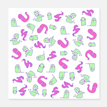 Funky Funky Ghosts Und Monster Pattern - Poster