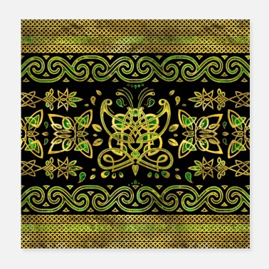 Green And Gold Celtic Butterfly Ornament - Green and gold - Poster