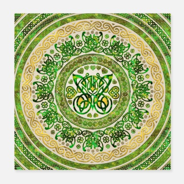 Green And Gold Celtic Butterfly - Round Ornament - Green and gold - Poster