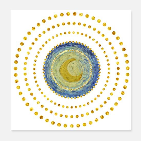 Mond Vincent Van Gogh Starry Night Detail Poster Spreadshirt