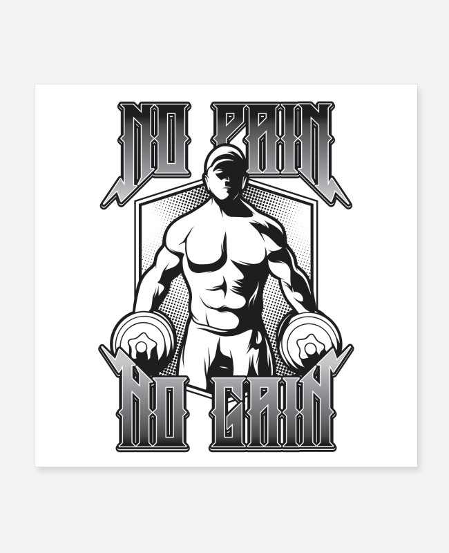 Hantel Poster - Gym No Pain No Gain - Poster Weiß