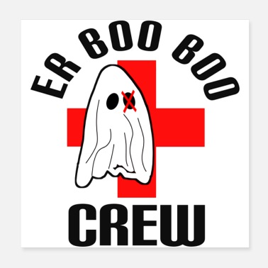 Red Cross Creepy ghost Boo Boo crew with cross - Poster