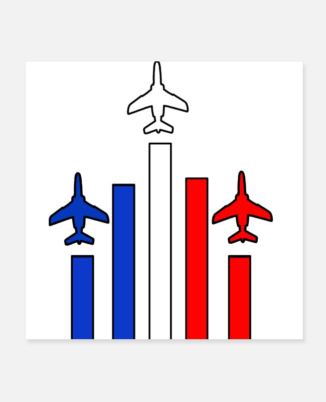 Frankrig Posters - Patrouille de France airshow air force - Posters hvid