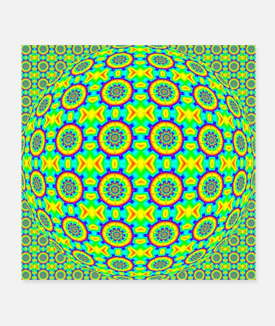 Pattern Posters - FRACTAL PATTERN RAINBOW-COLORED OP-ART - Posters white