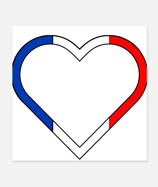 Festival Posters - French heart tricolor flag france country - Posters white