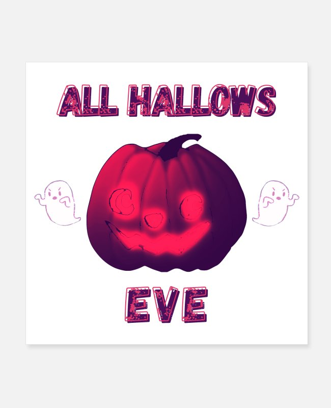 Red Posters - All Hallows Eve - Red Halloween - Posters white