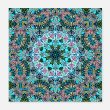Trendy KALEIDOSCOPE ABSTRACT LILIES 2 FLOWERS 2 - Poster