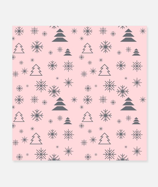 Pattern Posters - Modern Minimal Christmas Trees Pattern Snowflakes - Posters white