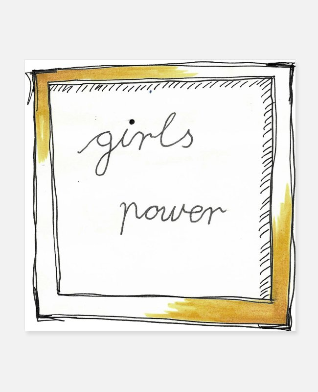 Design Poster - Girls Power! Süßes aquarell sketch - Poster Weiß