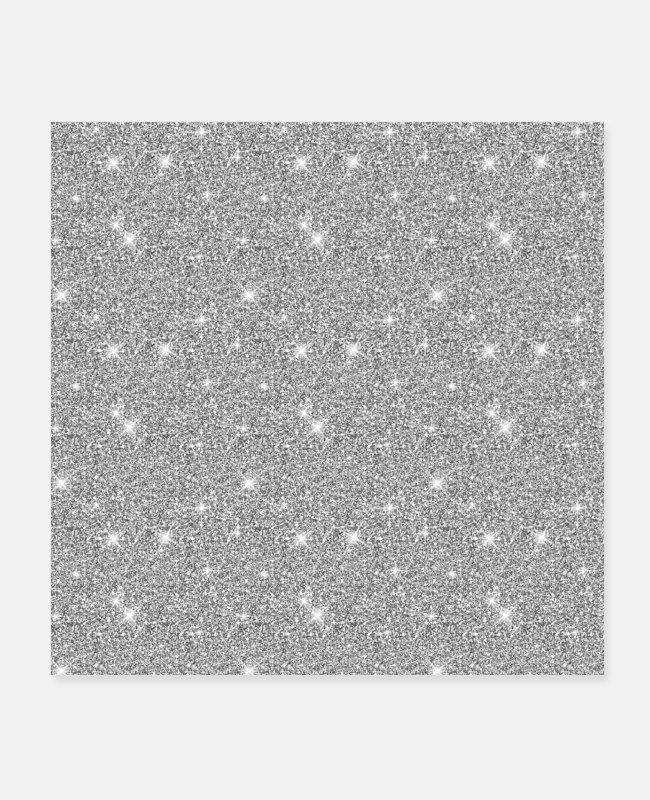 Shining Posters - Silver Shiny Stars Brilliant Sparkle Girly Grey - Posters white