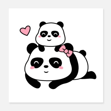 Panda Cute Panda Mum and Baby Cub - Poster