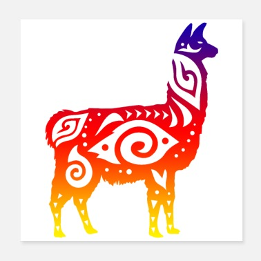 South America Llama South America Tribal Tattoo Gift Idea - Poster