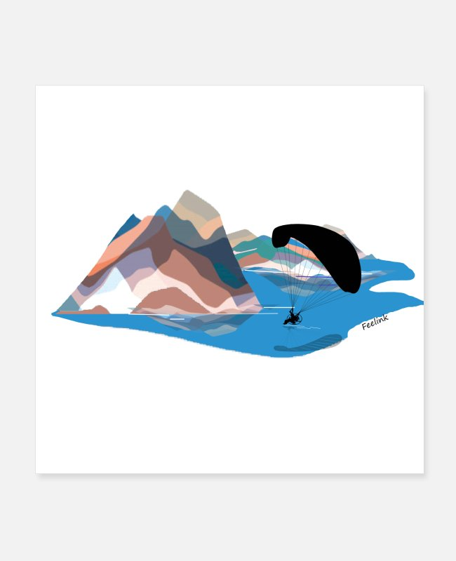 Water Posters - Paraglider paragliding mountains engine - Posters white