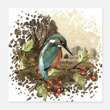 Watercolour Colorful bird - Poster