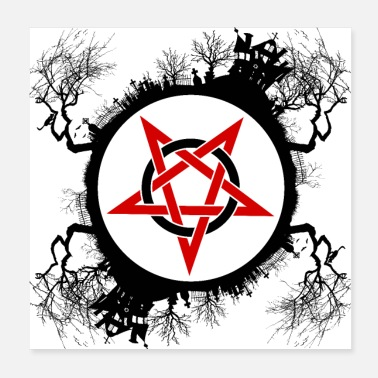 Witchcraft Witchcraft Pentagram Magic Circle T-Shirt - Poster
