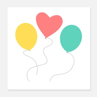 Compleanno palloncino - Poster 20x20 cm