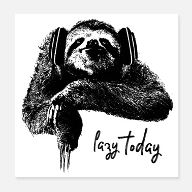 Sloth with headphones - Poster
