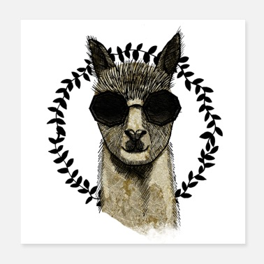 Alpaca Alpaca with sunglasses - Poster 20x20 cm
