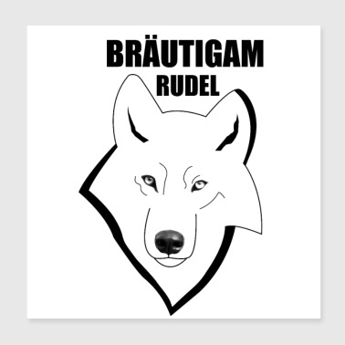 Bachelor party brudgom pakke Wolf - Poster 20x20 cm