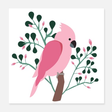 Tropici Bird Cockatoo Tropic Flowers Pink Summer - Poster 20x20 cm