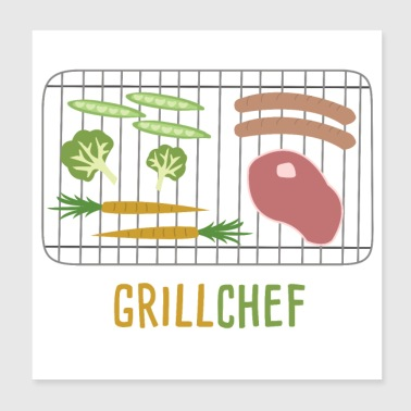 Barbecue Grillmeister zomer - Poster 20x20 cm