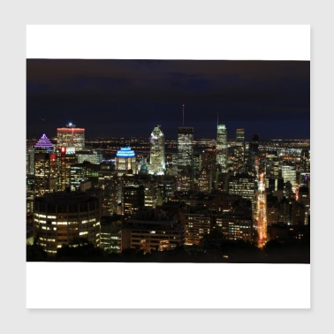 skyline montreal at night canada - Poster 20x20 cm
