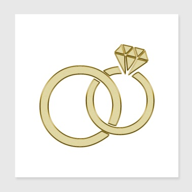 Wedding wedding rings - Poster 20x20 cm