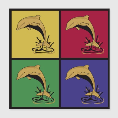 Dolphins pop art dolphin - Poster 20x20 cm