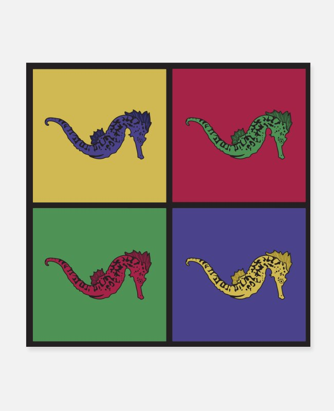 Pop Art Posters - Seahorse pop art seahorse - Posters white