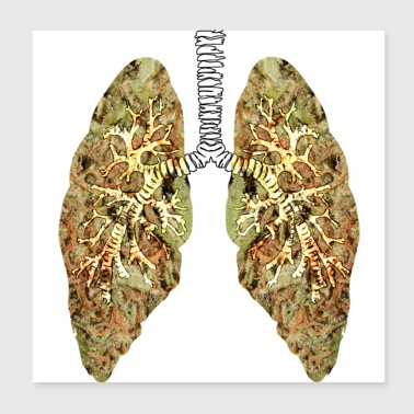 Marijuana lung grass cannabis gift idea dope - Poster 20x20 cm