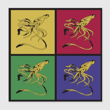 Octopus blekksprut pop art - Poster 20x20 cm