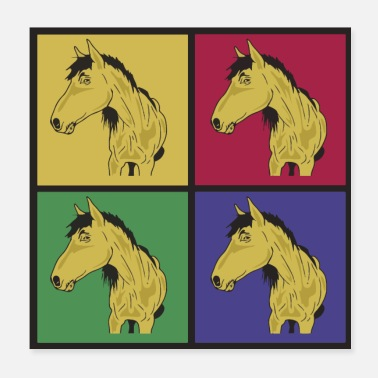 Cavalier Chevaux pop art - Poster 20 x 20 cm