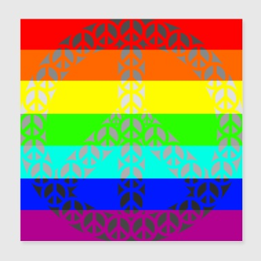Rainbow Gay Peace - Poster 20x20 cm