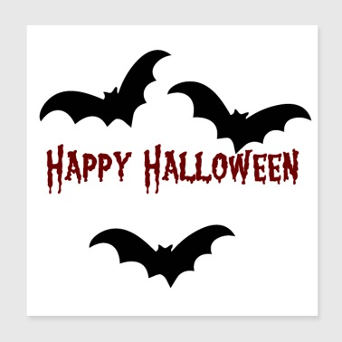 BAT HAPPY HALLOWEEN (musta) - Juliste 20 x 20 cm