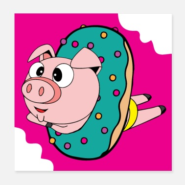Donut Crazy swimmer pig in the donut wallcontest - Poster