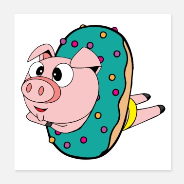 Swimming Trunks Crazy swimmer pig in the donut, wallcontest - Poster
