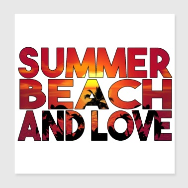 SOMMER BEACH AND LOVE NIGHT - Poster 20x20 cm