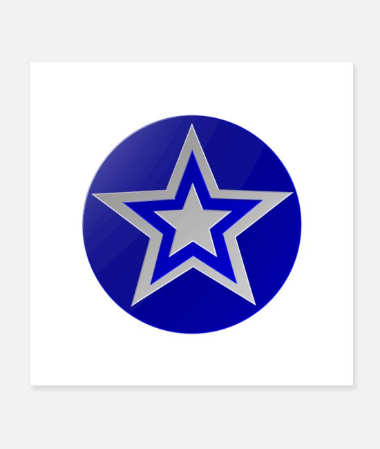 Circular Posters - Blue star - Posters white