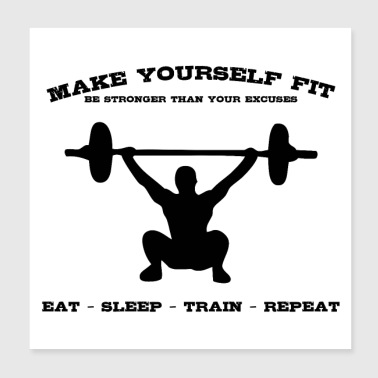 MAKE YOURSELF FIT (b) - Poster 20x20 cm