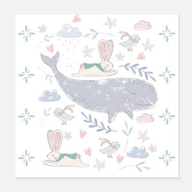 Kindergarten Whale and rabbits - Poster