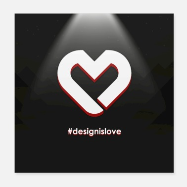 Background Heart Logo Square Background - Poster