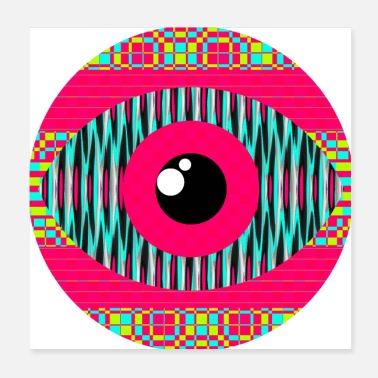Strange pop art pink strange eye with squares and lines - Poster 20x20 cm