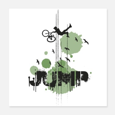 Freestyle DOWNHILL JUMP - GREEN - Poster 20x20 cm