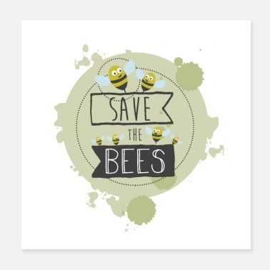 Simpatia SAVE THE BEES - GREEN - Poster 20x20 cm