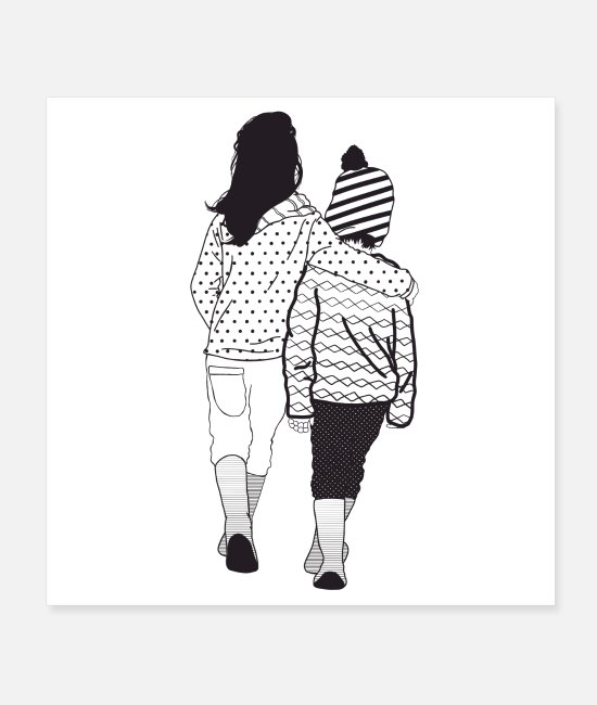 Pattern Posters - Siblings, patterned in black and white - Posters white