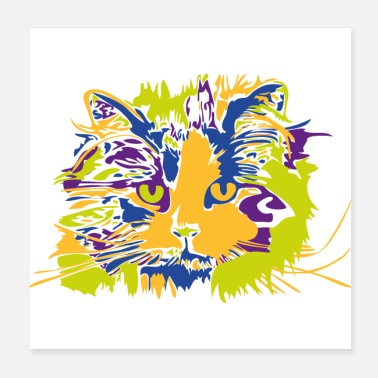 Long Chat chat quatre couleurs chat poil long - Poster