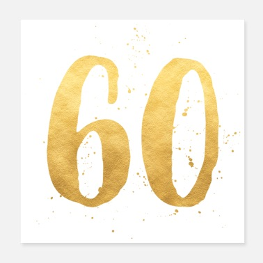 Round Birthday 60 gold round birthday sixty gift number - Poster